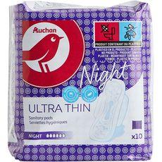 AUCHAN Serviettes hygiéniques avec ailettes nuit 10 serviettes