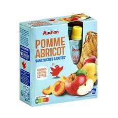 AUCHAN Gourdes pomme abricot sans sucres ajoutés 4x90g