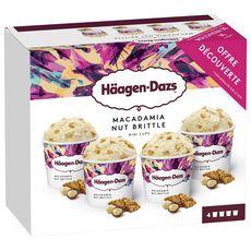 HAAGEN DAZS Mini-pot macadamia nut brittle 4 mini pots 320g