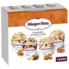 HAAGEN DAZS Mini pot de crème glacée caramel collection 4 pièces 365g