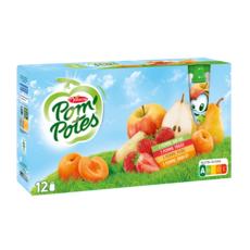 POM'POTES Dessert gourdes pomme abricot poire fraise sans conservateur 12x90g