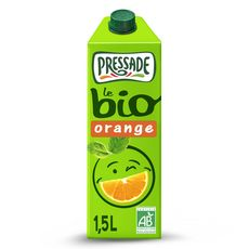 PRESSADE Nectar d'orange bio sans pulpe brique 1,5l