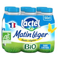 LACTEL Matin léger lait sans lactose bio UHT 6x50cl