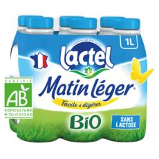 LACTEL Matin léger Lait demi-écrémé sans lactose bio UHT 6x1L