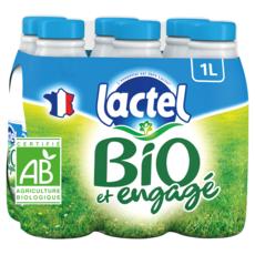 LACTEL Lait demi-écrémé bio UHT 6x1L