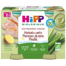 HIPP Petit pot haricots verts pommes de terre poulet bio dès 6 mois 2x190g