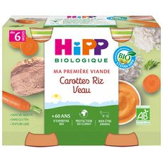 HIPP Petit pot carottes riz veau bio dès 6 mois 2x190g