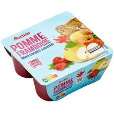 AUCHAN Coupelles pomme framboise sans sucres ajoutés 4x100g