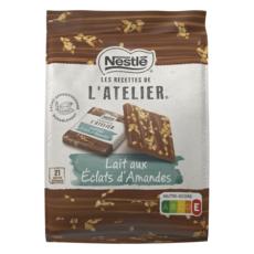 NESTLE L'Atelier Carrés de chocolat au lait de dégustation éclats amandes 26 carrés 200g