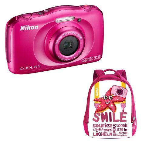 NIKON Appareil Photo Compact - Enfant - Etanche - Anti Choc  COOLPIX W100 - Rose + Objectif 4.1-12.3 mm + Sac à dos