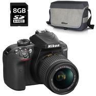 NIKON D3400 AF-P 18-55mm + Sac photo et carte SD 8 Go- Appareil photo reflex