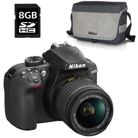 NIKON Appareil Photo Reflex -  D3400 - Noir + Objectif 18-55 mm + Sac Photo + Carte SD 8 Go