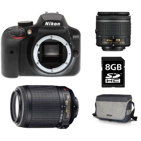 NIKON Appareil Photo Reflex - D3400 - Noir + Objectif 18-55 mm + Objectif 55-200 mm + Sac Photo + Carte SD 8Go