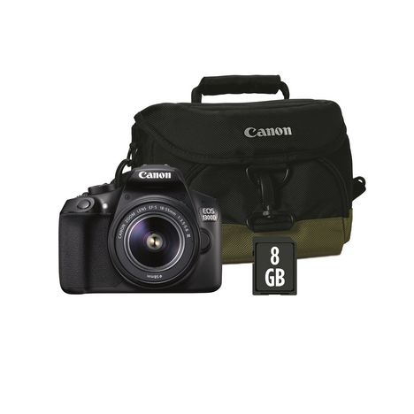 appareil photo reflex eos 1300d noir objectif 18 55 mm sac photo carte sd 8go canon pas. Black Bedroom Furniture Sets. Home Design Ideas