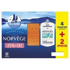 PETIT NAVIRE Saumon fumé de Norvège  4 tranches +2 offertes  160g