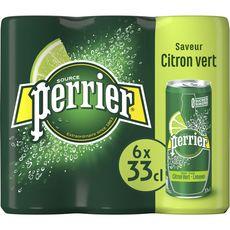 PERRIER Eau gazeuse aromatisée au citron vert boîtes 6x33cl