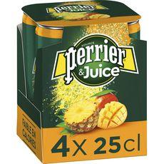 PERRIER Eau gazeuse Juice aromatisée ananas mangue boîtes 4x25cl
