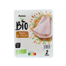 AUCHAN BIO Blanc de poulet supérieur 2 tranches 80g