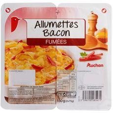 AUCHAN Allumettes de Bacon fumé 2x75g