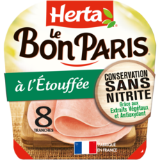 HERTA Le bon Paris Jambon cuit à l'étouffé sans nitrite sans couenne 8 tranches 280g