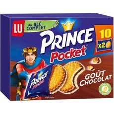 PRINCE Biscuits pocket goût chocolat au blé complet, sachets fraîcheur 10x2 biscuits 400g