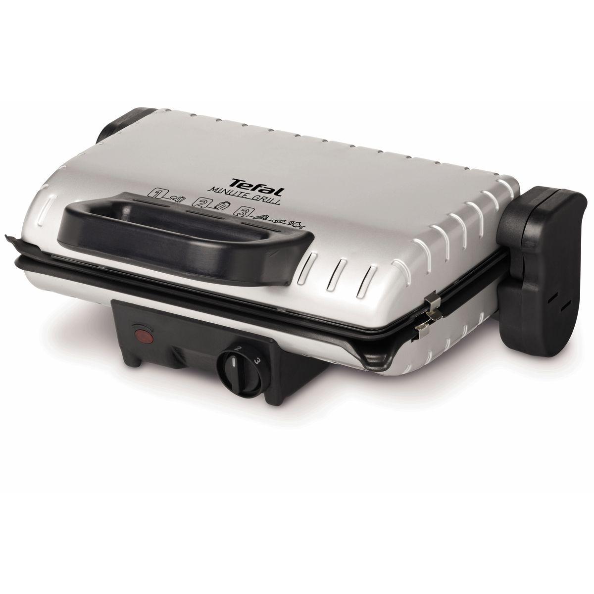 Grille-viande GC205012 Silver - 1600W, 2 positions de cuisson : Gril double face et Barbecue 180°
