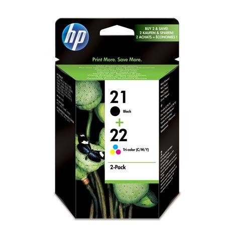 HP Pack de 2 Cartouches d'Encre HP 21 / 22 Noire et Trois Couleurs Authentiques (SD367AE)