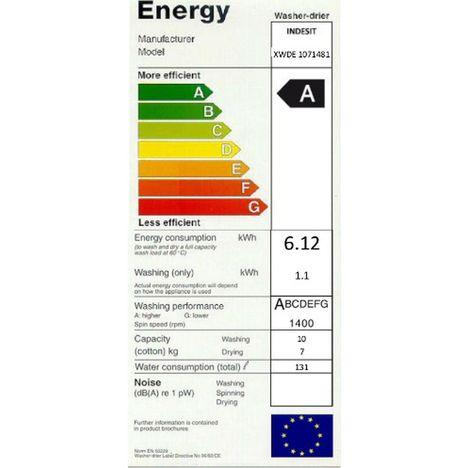 4e2adb957e38b ... INDESIT Lave-linge séchant XWDE 1071481XWKKK EU - 10 Kg Lavage - 7 Kg  Séchage ...
