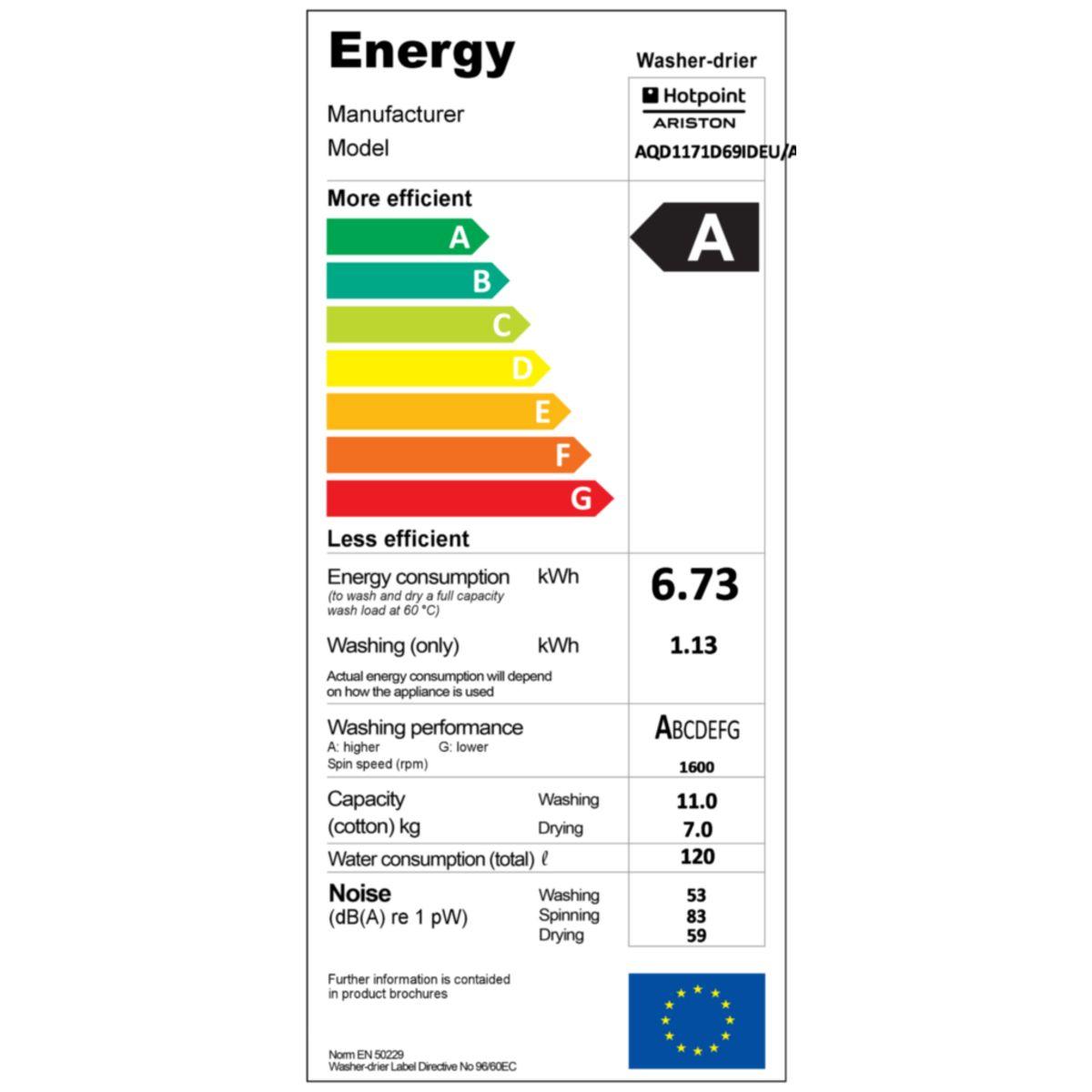 HOTPOINT Lave-linge séchant hublot AQD1171D69IDFR, 11 Kg Lavage, 7 Kg Séchage, 1600 T/min