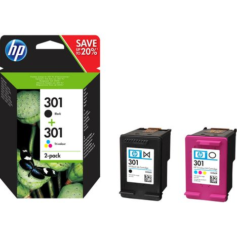 HP Pack de 2 Cartouches d'Encre HP 301 Noire et Trois Couleurs Authentiques (N9J72AE)