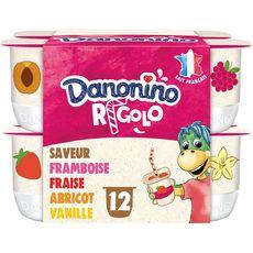 DANONINO rigolo Yaourt aromatisé aux fruits avec paille 12x125g