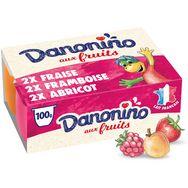 Danonino petit suisse fruits fraise framboise abricot 6x100g