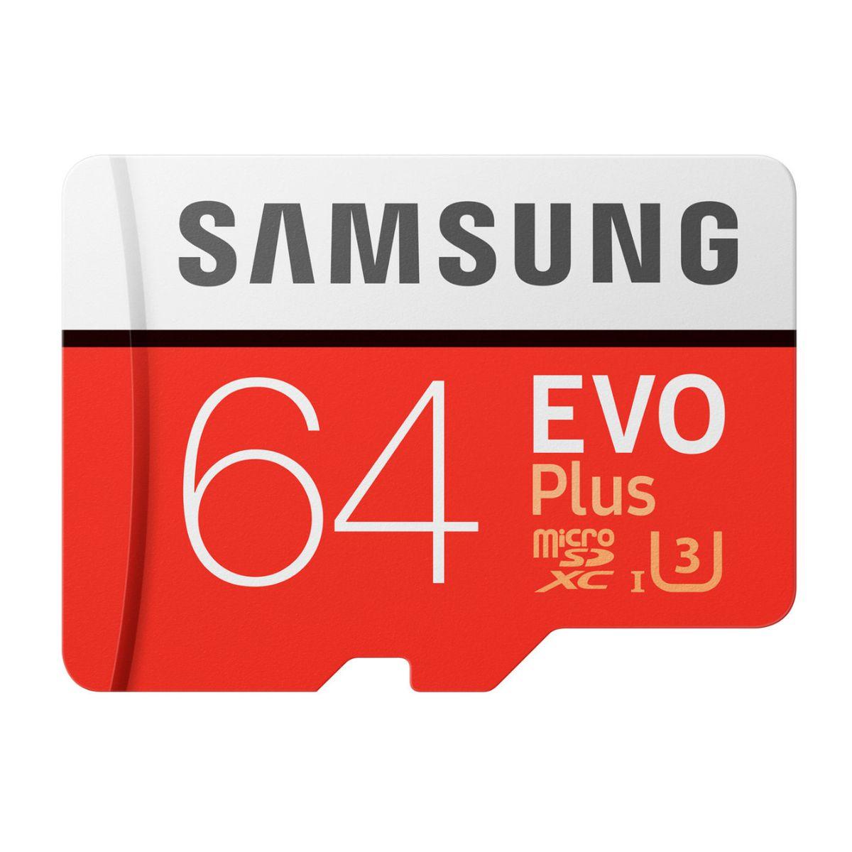 Carte mémoire Micro SD EVO PLUS 64 Go + adaptateur SD