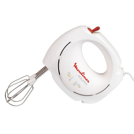 MOULINEX Batteur ABM11A30 Blanc et Rouge 200W 2 Vitesses + Turbo