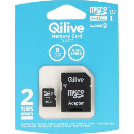 QILIVE Carte mémoire Micro SDHC 8 Go Q8117 + Adaptateur