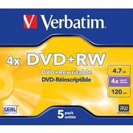 VERBATIM Lot de 5 DVD+RW - 4.7 Gb - Vitesse d'écriture 4x - 120 minutes - 5 Pack Jewel Case
