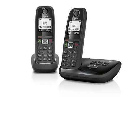GIGASET Telephone fixe DUO - AS405A - Noir - Répondeur