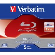 VERBATIM CD DVD vierge Blu-ray réinscriptible - 135min - 25 Go - 2x - 5 pièces boite cristal