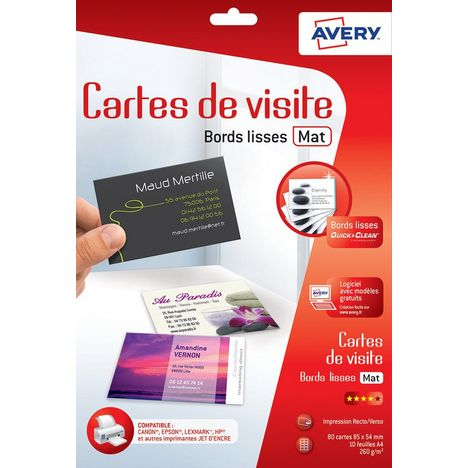 AVERY Cartes De Visite Mates Bords Lisses C32015 5
