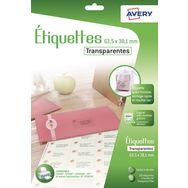 AVERY Étiquettes adresses transparentes x 126