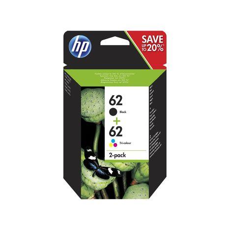 HP Pack de 2 Cartouches d'Encre HP 62 Noire et Trois Couleurs Authentiques (N9J71AE)