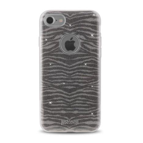 JUST CAVALLI Coque pour iPhone 7 - JUSTCAVALLI COQ ZEBRA - Silver