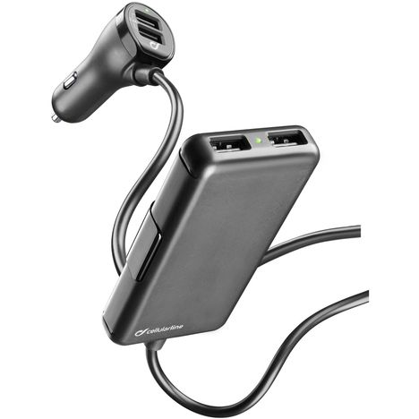 CELLULAR Chargeur allume cigare 4 USB 7,2 A