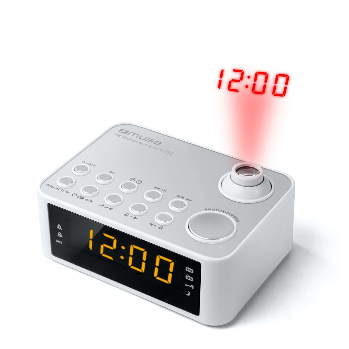 Radio-réveil avec projection de l'heure - Blanc - M-178 PW