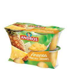 ANDROS Dessert de fruit d'ananas avec morceaux 4x100g