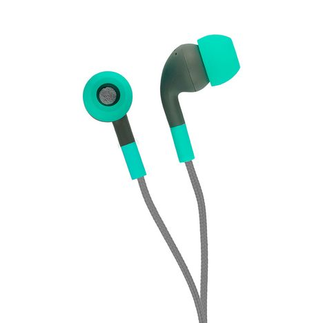 WIKO Ecouteurs WiShake avec télécommande et micro - Gris et Turquoise - Universel