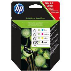 HP Pack de 4 Cartouches d'Encre HP 950XL/951XL Noir, Cyan, Magenta et Jaune grandes capacités Authentiques (C2P43AE)