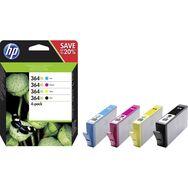 HP Cartouches d'Encre N364 XL 4 Cartouches Noires + Couleurs