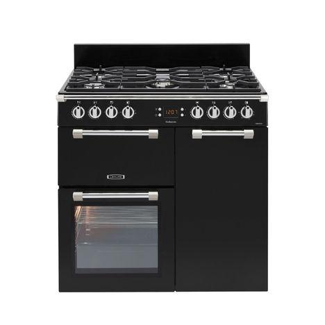 LEISURE Piano de cuisson à gaz CK90F324K, 90 cm, 5 Foyers gaz dont 1 wok, 1 four multifonction 3D + 1 four chaleur pulsée + 1 grill