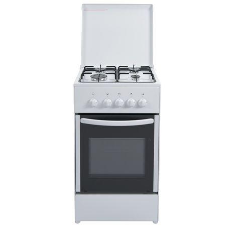 DOMAN Cuisinière à gaz DE550GW, 50 cm, 4 foyers à gaz, Four à convection naturelle